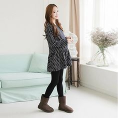 Maternity's Fashion All-Matching Loose Long Sleeved Dress – USD $ 31.99
