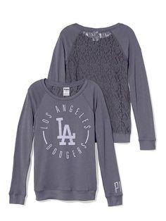 Please??  PINKLos Angeles Dodgers Lace-back Boyfriend Crew