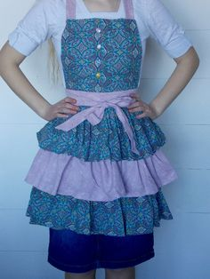 Ladies Triple Tiered Apron Made From Vintage by Vintage Sheets, Aprons, Hand Sewing, Content, Lady, Fabric, Stuff To Buy, Shopping, Fashion