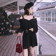 Vintage Hard Black Suspenders Dress Female Harajuku Gothic Korean Off Shoulder Sexy Shirt Dress Women Punk Style Dresses Rebel Fashion, Punk Fashion, Gothic Fashion, Boho Fashion, Fashion Outfits, Fashion 2017, Fashion Top, Street Fashion, High Fashion