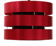 Here we have a Red sateen ceiling shade This shade can be either used for the ceiling or for a Table Lamp This shade has a rolled edge to give it a