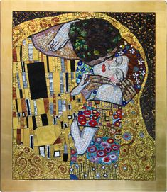 klimt kiss   The gold of the mosaic is made of a thin white or yellow 24-carat gold ...