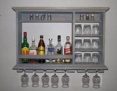 Mini Bar, Weathered Gray, wine rack, liquor cabinet, X Minimalist style bar ( SKU # ) Weathered Grey Stain, Gray Stain, Wall Mounted Bar, Rustic Wine Racks, Mini Bars, Wine Rack Wall, Wall Bar, Bars For Home, Liquor Cabinet