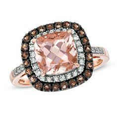 Cushion-Cut Morganite, Smoky Quartz and 1/10 CT. T.W. Diamond Ring in 10K Rose Gold
