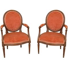 Pair of late 19th c. Louix XVI Provencial Fruitwood Fauteuils