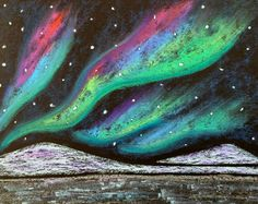 Northern Lights Art with pastels