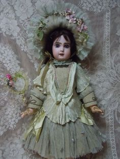 Exquisite couturier Dress and Hat costume..Also included in this listing: an antique  doll handkerchief and lovely dream-catcher.  The costume fit a