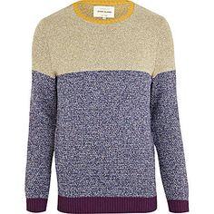 blue colour block jumper - jumpers - jumpers   cardigans - men - River  Island Colour a1de4068f