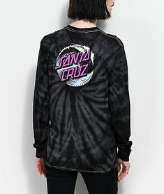 Santa Cruz Wave Dot Spider Black Tie Dye Long Sleeve T-Shirt  67c70f2ad96