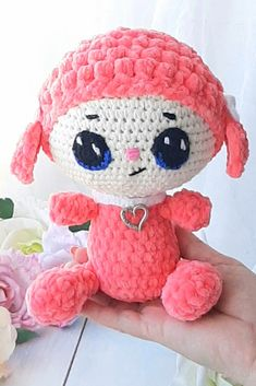 """Crochet lamb, sheep plush toys, plush with pink, gift for girl boy. This toy will be a great gift for a boy or girl. This will be the perfect decor for a children's room. The toy is made of soft yarn. Eyes are embroidered . The yarn is hypoallergenic, suitable for contact with the most sensitive skin and for babies. The toy is soft and not prickly. The toy has a size of about 24 cm=9.4 inches."""" # CrochetSheep# AmigurumiSheep# lambdoll# lambtoy# amigurumilamb"""