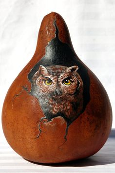 Hand Painted Screech Owl Gourd by JypsyWings. Great idea for painting. Decorative Gourds, Hand Painted Gourds, Halloween Gourds, Fall Halloween, Gourds Birdhouse, Birdhouses, Screech Owl, Gourd Art, Owl Art