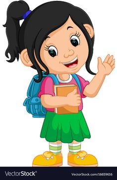 Cute girl go to school cartoon vector image on VectorStock Student Cartoon, School Cartoon, Cartoon Kids, Art Drawings For Kids, Drawing For Kids, Art For Kids, Drawing School, School Painting, Cartoon Girl Images