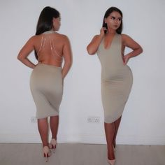 Sexy V-Neck Halter Dress with Metal Chain Spaghetti Straps