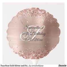 Faux Rose Gold Glitter and Foil 40th Birthday Balloon