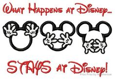 What Happens at Dis Stays at Dis Mister Mouse Head Machine Applique Embroidery Design, Multiple Sizes, including 4 inch