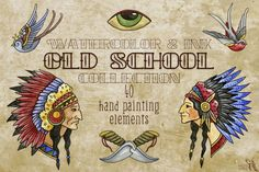 Old School Watercolor & Ink Set By Fluffy Unicorn