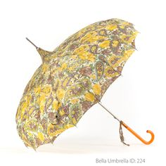 Umbrella ID 224 | Brown, Yellow and Green Paisley and Floral Patterned Pagoda | Orange Hook Handle | Bella Umbrella | Vintage Umbrella Rentals