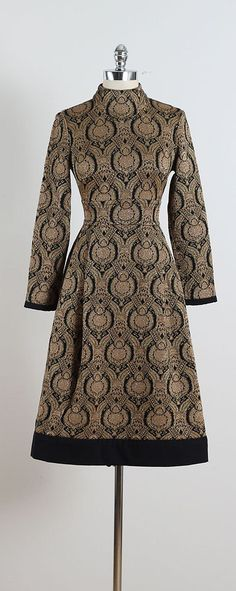 Barberini ➳ vintage 1960s dress * brown wool * gold metallic yarn * black art deco style print * black trim * back zipper * by Kimberly condition |