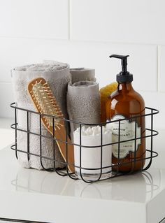 Bath accessories at La Maison Simons online store. Shop the hottest styles and trends in home décor, home accessories, home fashions and more. Diy Bathroom Decor, Bathroom Styling, Bathroom Organization, Small Bathroom, Budget Bathroom, Bathrooms, Basket Bathroom Storage, Bathroom Counter Decor, Basket Storage