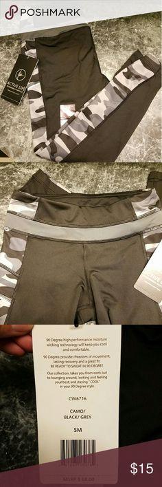 "90 DEGREES By Reflex Camo Print Crop Leggings NWT!  90 Degrees by Reflex Size S  Color: Camo/Black/Gray Inseam: 27""  Medium-rise, tight fit Polyester/Spandex Nike Pants Leggings"