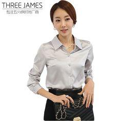 1c4d2dcb11bce Woman ol spring full sleeve Shirt lady summer Cardigan turn-down collar hot  sale slim silk blouse female slim shirt