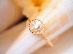 Custom 6mm Rose Cut Diamond Solitaire Ring Unique Engagement Ring Dainty Diamond Ring - made to order in your finger size
