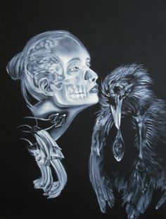 Girl and Crow - Surrealist Oil Painting