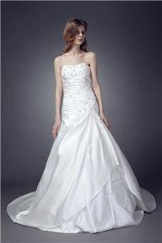 Empire Sweetheart Satin Chapel Train Wedding Dress WEM05274-TB