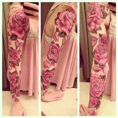 Red rose full sleeve tattoo