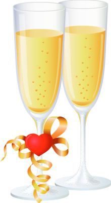 Two Glasses of Champagne for Love = Clip Art > Champagne