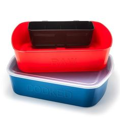 "These helpful containers make seperating raw meets from cooked foods a cinch, so nothing gets contaminated during the prep process!FEATURES• Grill and Prep station and helps avoid cross contamination when preparing meals• Red container has ""RAW"" on front and blue container has ""COOKED"" on front• Black snap-on container for sauces or utensils has 4 sections• Includes only one lid which can fit either container• Containers: 14 1/4"" x 10 3/4"" x 4""• Not microwaveabl... AvonRep shirlean walker"