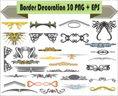 Border Color Decoration Vintage Corner Retro Vector Clipart PNG EPS Digital Files Transparent Scrapbook Supplies Clip Art Instant Download by VectorArtShop on Etsy