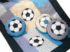 Soccer Ball  Quilts - Patchwork Toddler Blanket - Sports Theme -  Soccer Ball Pillows (3) -  blue, beige, white- HET