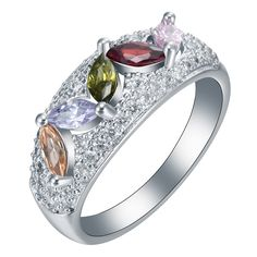 silver plated ring leaf design purple pink yellow cz high quality factory sale classical party wedding engagement rings jewelry