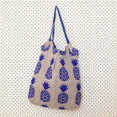 Francesca Rockette for E&W - Royal Blue Pine on Beige Linen Carry All Bag