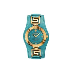 Versace Women's Swiss Diamond Accent V-Signature Turquoise Leather Strap Watch - Watches - Jewelry & Watches - Macy's Hugo Boss, Lila Gold, Blue Gold, Mode Orange, Versace Jewelry, Pierre Turquoise, Gold Diamond Watches, Do It Yourself Fashion, Luxury Watches