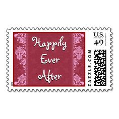 RED Damask and Flourishes Wedding Postage #wedding #stamps #love #marriage #romance #bride #groom #jaclinart #love #postage #red #damask