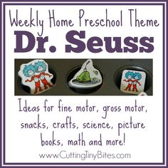 Dr. Seuss Theme Weekly Home Preschool- lots of great ideas for gross motor, fine motor, snacks, crafts, music and more! Perfect amount of activities for one EASY week of home preschool.
