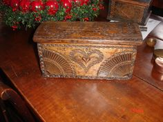 An Outstanding PA German Chip Carved Miniature Brides Chest Chestnut Wood | eBay