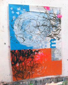 Hermann Josef Hack, M, 150320, painting and spray paint on tarpaulin, 250 x 177 cm, 2015