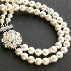 Pearl Bridal Necklace, Rhinestone Pearl Necklace Wedding Jewelry, ABIGAIL Collection