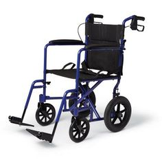 Medline Excel Deluxe Aluminum Transport Chair with Hand Brakes, Blue