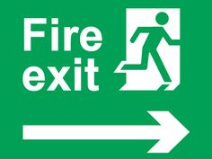 Fire exit sign running man arrow diagonally up left safety signs #Firesafety