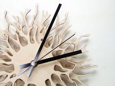 Coral branch Clock - wooden wall clock - laser cut tree branch unique. €60.00, via Etsy.