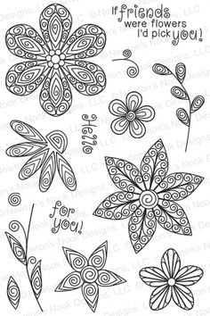 Beautiful Blossoms - Photopolymer stamp set by Newton's Nook Designs featuring Quilled Style Flower Stamps Paper Quilling Patterns, Paper Quilling Jewelry, Quilling Paper Craft, Paper Crafts, Quilling Ideas, Easter Arts And Crafts, Quilled Creations, Quilling Tutorial, Quilling Techniques