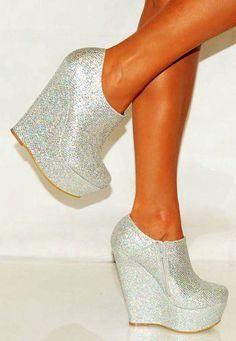 Silver Platform Glitter Sparkly High Wedges Shoe