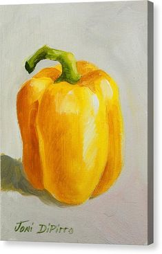 Yellow Bell Pepper Canvas Print / Canvas Art by Joni Dipirro - JRF Fine Art Yellow Bell Pepper Canvas Print / Canvas Art by Joni Dipirro Yellow Bell Pepper Canvas Print by Joni Dipirro Oil Pastel Drawings, Oil Pastel Art, Oil Pastels, Art Drawings, Watercolor Fruit, Watercolor Paintings, Pastel Paintings, Vegetable Painting, Fruits Drawing