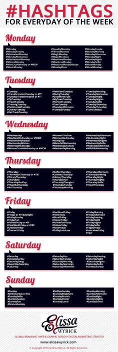Wanting some fun hashtags for your social media strategy? Here's a bunch for every day of the week!