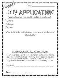 Classroom job application freebie! Perfect for a classroom economy!