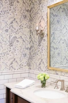 Trend: Soft Florals<br> Top designers and industry experts share new design trends that you'll use in every room in the house. Toile Wallpaper, Geometric Wallpaper, Room Wallpaper, Gold Framed Mirror, Luxury Bath, Decorating Blogs, Interior Decorating, Wall Spaces, Home Look